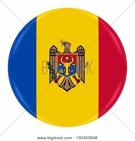 Moldovan Flag Badge - Flag Of Moldova Button Isolated On White