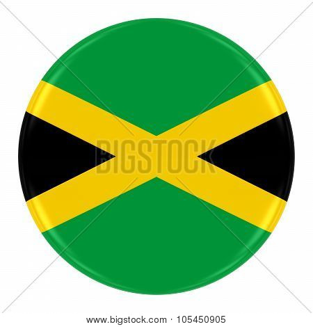 Jamaican Flag Badge - Flag Of Jamaica Button Isolated On White