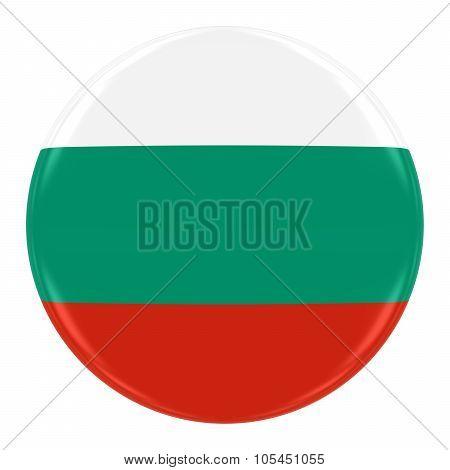 Bulgarian Flag Badge - Flag Of Bulgaria Button Isolated On White