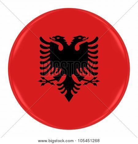 Albanian Flag Badge - Flag Of Albania Button Isolated On White