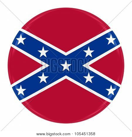 Confederate Flag Badge - Flag Of The Confederacy Button Isolated On White