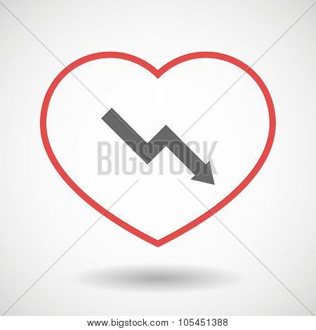 Line Heart Icon With A Descending Graph