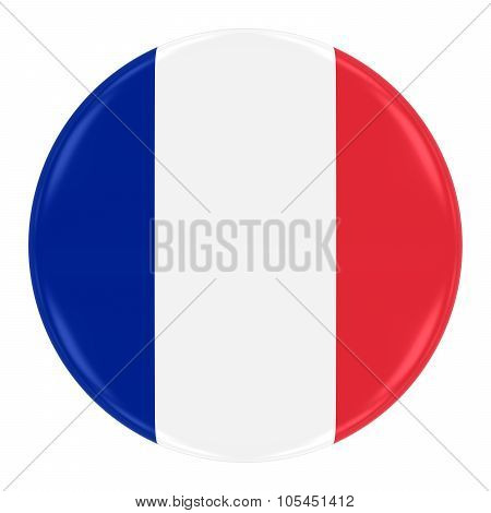 French Flag Badge - Flag Of France Button Isolated On White