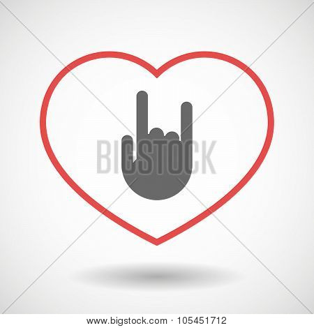 Line Heart Icon With A Rocking Hand
