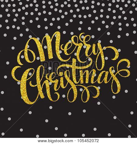 Hand drawn typography card. Merry christmas greetings gold glitter hand lettering. Vector illustrati