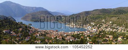panoramic photo of Vathy in Ithaca Greece