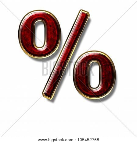 The Percent Sign Is A Precious Stone Red
