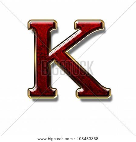 Letter K - Precious Stone in Red