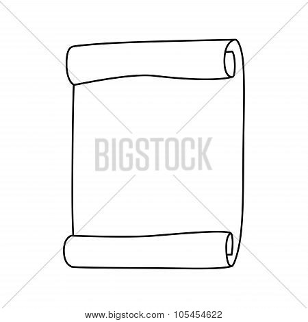 Paper Scroll Silhouette Vector Isolated On White Background. Empty, Blank Parchment Rolled Up Scroll