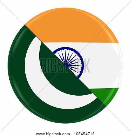 Pakistani/indian Relations Concept Image - Badge With Split Flags Of Pakistan And India