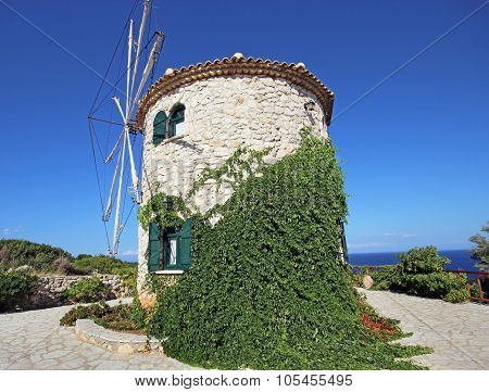 Old windmill on Zakynthos island, Greece