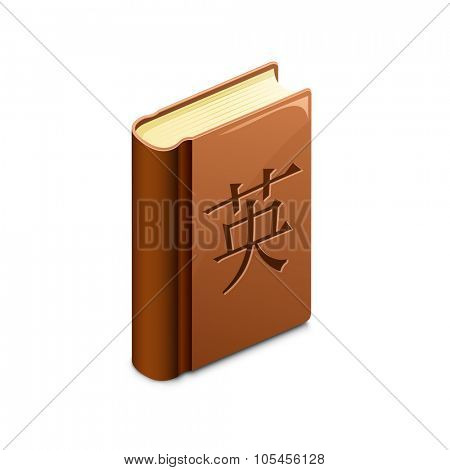 Chinese language learning concept. Vector illustration of dictionary with chinese character