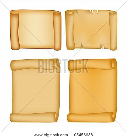 Paper Scroll Vector Set Isolated On White Background. Empty Parchment Rolled Up Scroll, Old Paper Sh