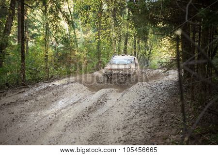 RUSSIA, PUSHKINO -?? 20 SEP, 2014: Off--road vehicle is driving on the wood at Rainforest Challenge Russia Autumn 2014 PRO-X.