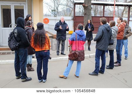 RUSSIA, MOSCOW - NOV 14, 2014: Chairman of the Council of Veterans Alexander Yarovikov is speaking to bloggers in North-East district of Moscow.