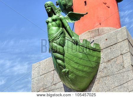 Detail Of Rostral Column On The Spit Of Vasilevsky Island In St. Petersburg, Russia