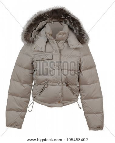 fashion winter gray jacket isolated on white background