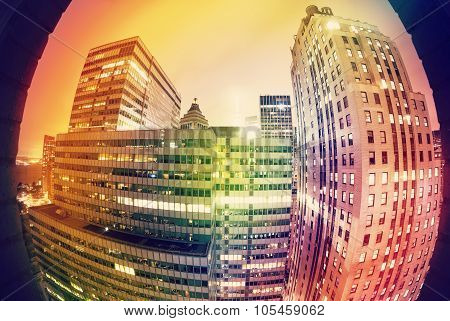 Abstract Colors Fisheye Night Offices Picture, Creative Business Concept.