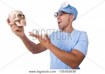 Young nurseboy with sculp isolated on white