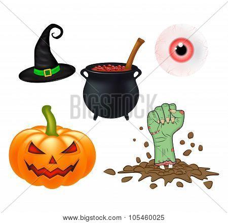 Halloween Cartoon Vector Set, Symbols Collection. Set Of Vector Objects, Pumpkins, Witch Hat Cauldro