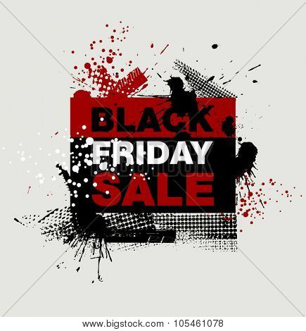 Grunge Black Friday. Abstract dirt backgrounds texture. Grunge banner with an inky dribble strip with copy space. Abstract background for Black Friday