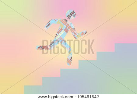 Man on Stairs going up. Flat web icon or sign isolated on grey background. Collection modern trend c