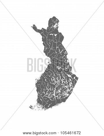 Map Of Finland With Lakes And Rivers.