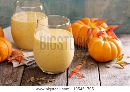 Healthy pumpkin smoothie with chia seed in glasses