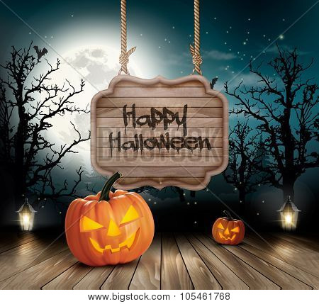 Scary Halloween background with a wooden sign. Vector.