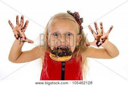 Pretty Little Female Child With Long Blond Hair And Blue Eyes Wearing Red Dress Bitting Donut Mouth