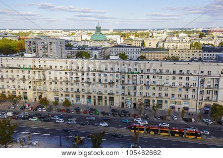 Aerial View Of Warsaw And Marszalkowska Street