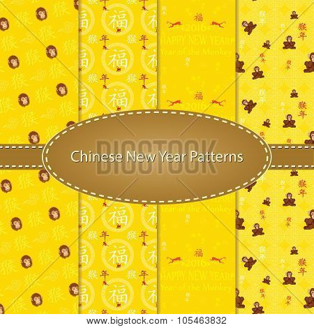 Cute seamless pattern set for Chinese New Year