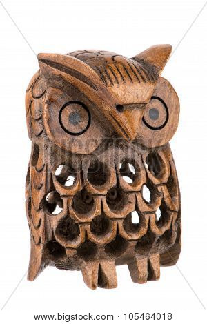 Decorative Woodcarved Owl Inside A Owl