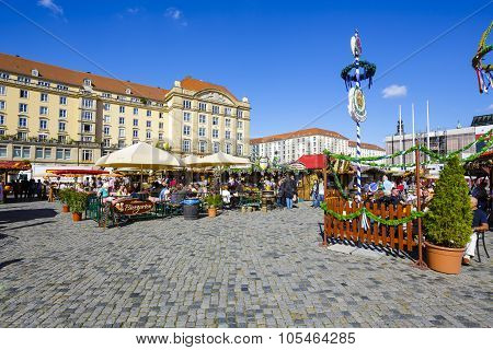 The Street Market In Dresden