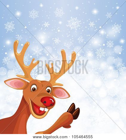 Reindeer Rudolph in corner on snowflake background