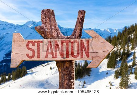 St Anton wooden sign with winter background