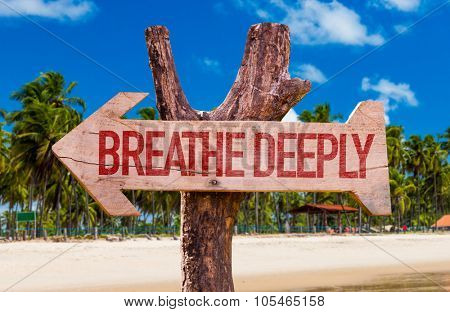 Breathe Deeply arrow with beach background