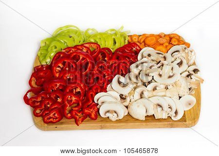Pepper Carrot And Mushrooms Vegetables Isolated
