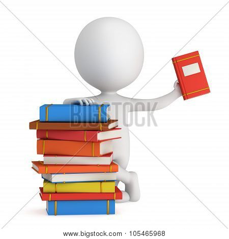 3D Man With Piles Of Books
