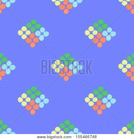 Seamless Pattern With Rhombus Of Circles On A Blue Background