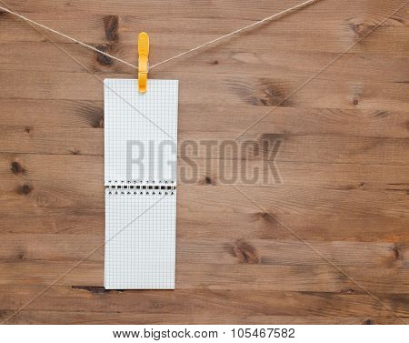 Hanging Notebook With Colored Clothespin
