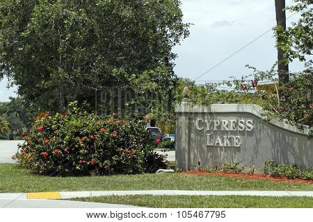 Cypress Lake Entrance Sign