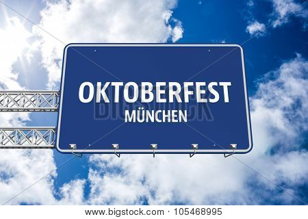 Oktoberfest munchen against bright blue sky with clouds