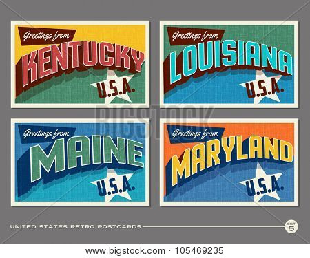 United States vintage typography postcards. Kentucky, Louisiana, Maine, Maryland