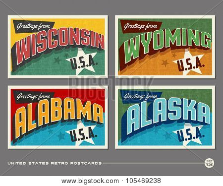 United States vintage typography postcards. Wisconsin, Wyoming, Alabama, Alaska