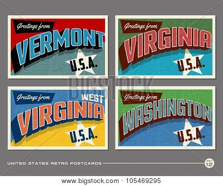 United States vintage typography postcards. Vermont, Virginia, Washington, West Virginia