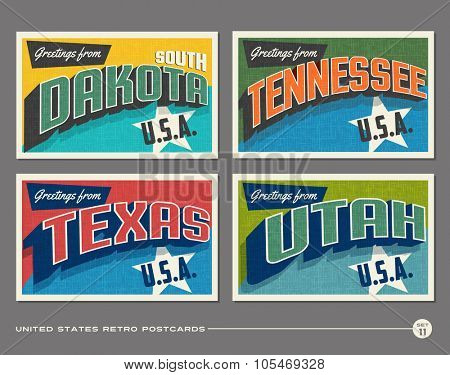 United States vintage typography postcards. South Dakota, Tennessee, Texas, Utah