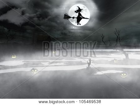 Halloween background with spooky grave, naked tree and bats.