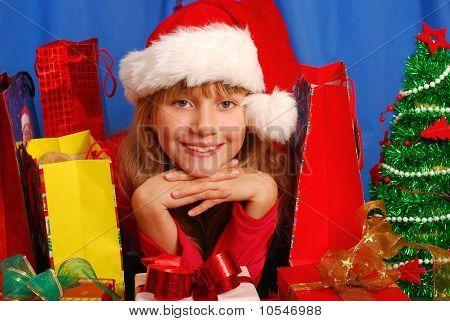 Girl And Christmas Gifts