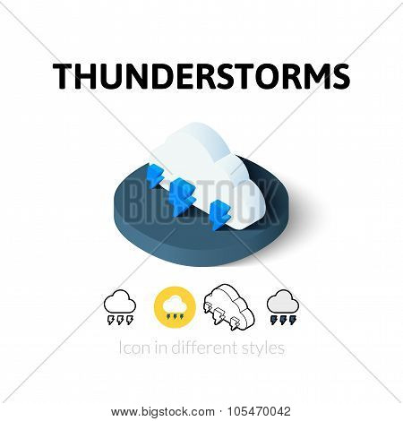 Thunderstorms icon in different style